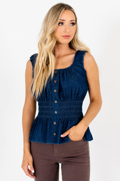 Blue Lightweight High-Quality Boutique Tank Tops for Women