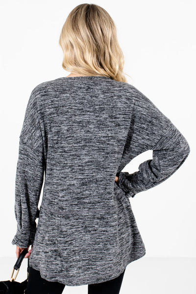 Women's Charcoal Gray Pleated Sleeve Cuff Boutique Tops