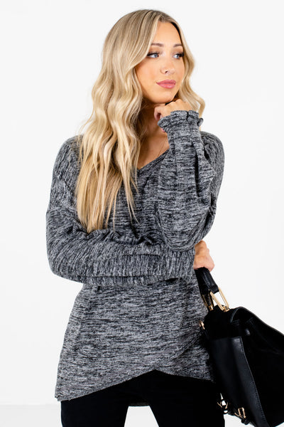 Women's Charcoal Gray Long Sleeve Boutique Tops