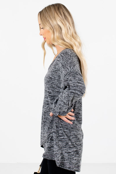 Charcoal Gray Overlay High-Low Hem Boutique Tops for Women