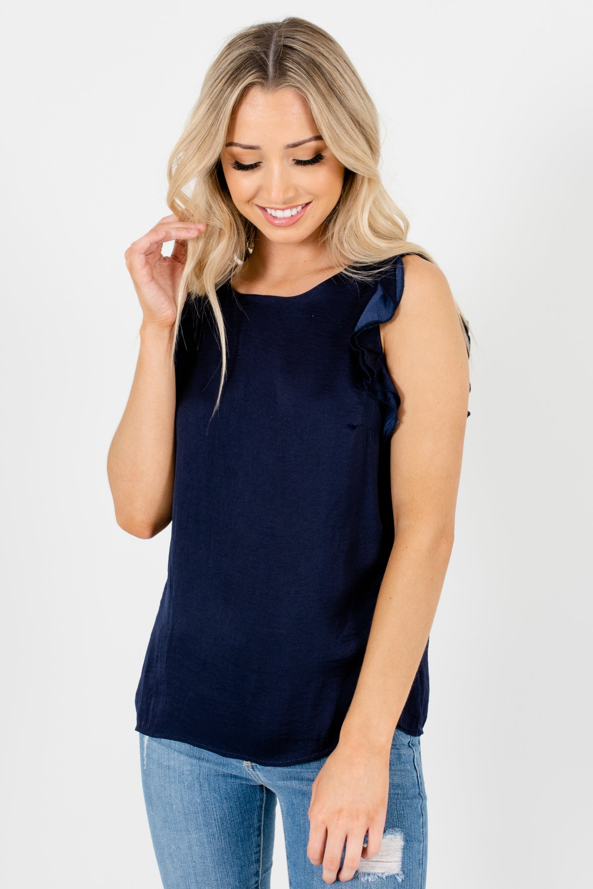 Navy Blue Ruffle Tank Sleeve Satin Tops Affordable Online Boutique