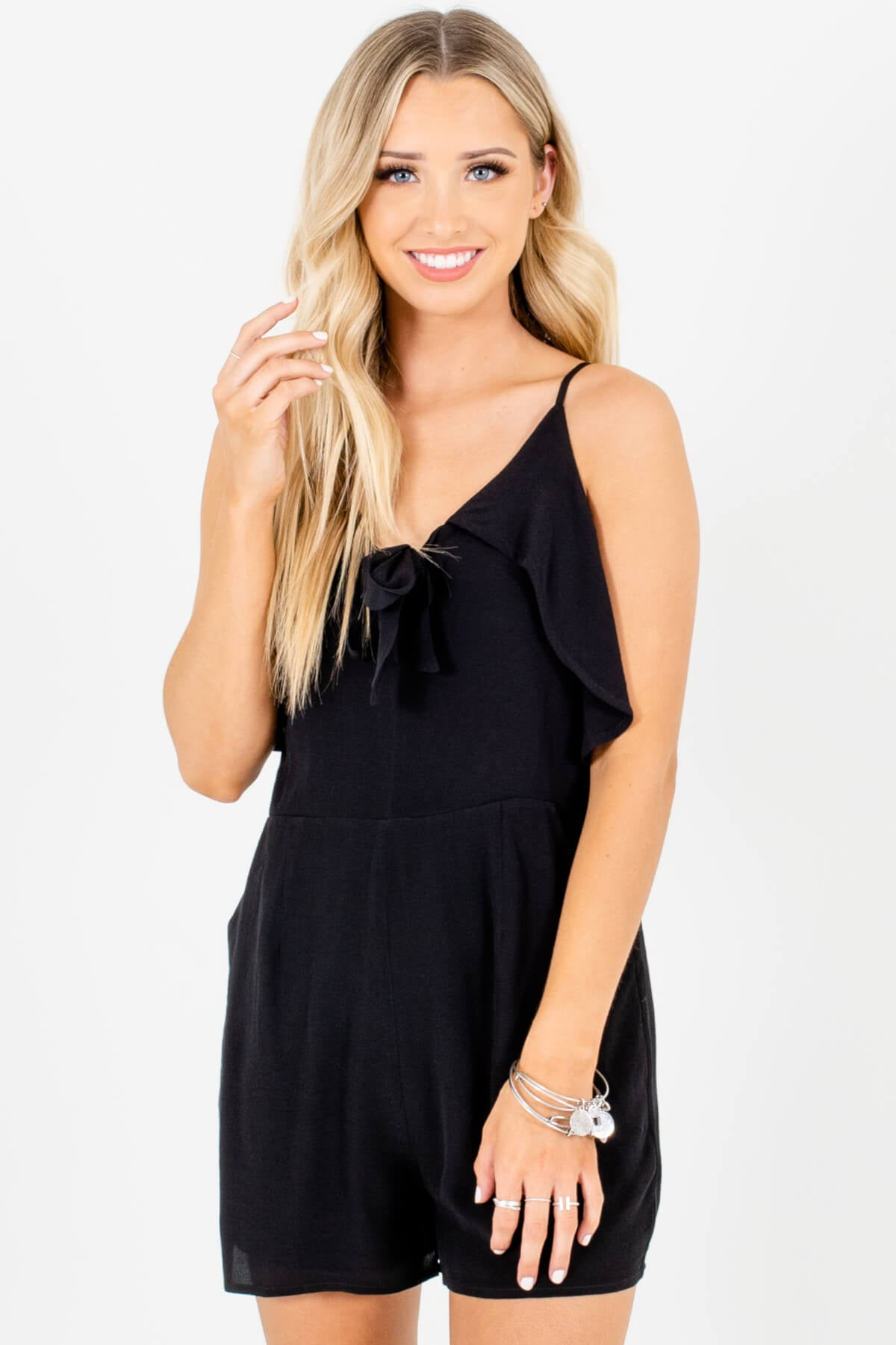 Black Ruffle Tie Front Boutique Womens Rompers with Pockets