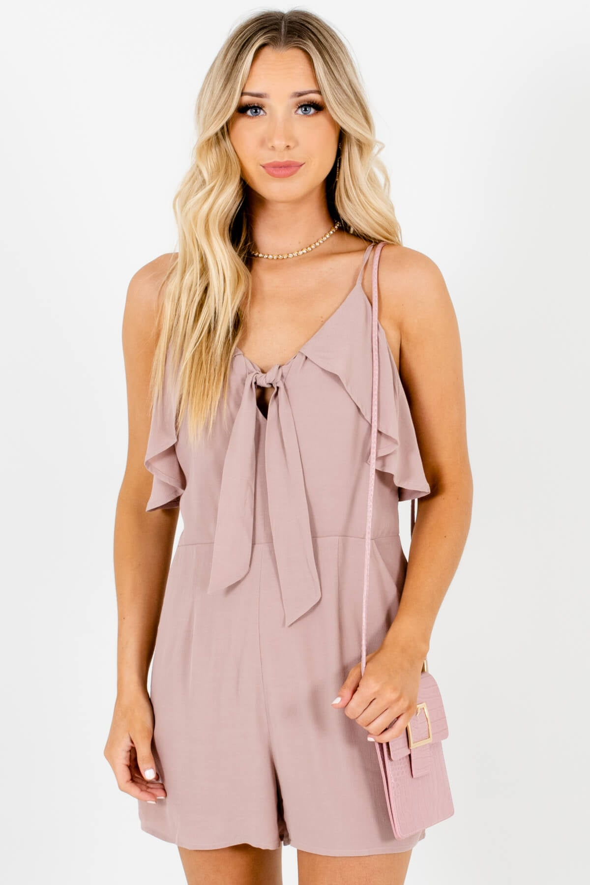 Taupe Pink Tie-Front Ruffle Rompers Affordable Online Boutique