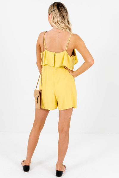 Chartreuse Yellow-Green Ruffle Tie-Front Rompers for Women
