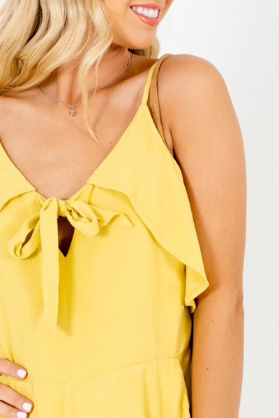 Chartreuse Yellow Ruffle Tie-Front Womens Rompers with Pockets