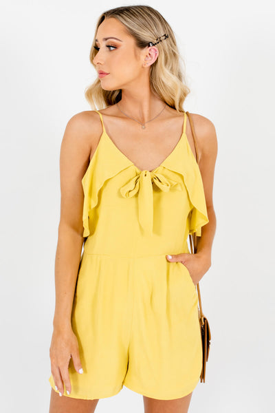 Chartreuse Yellow Tie-Front Ruffle Rompers for Women