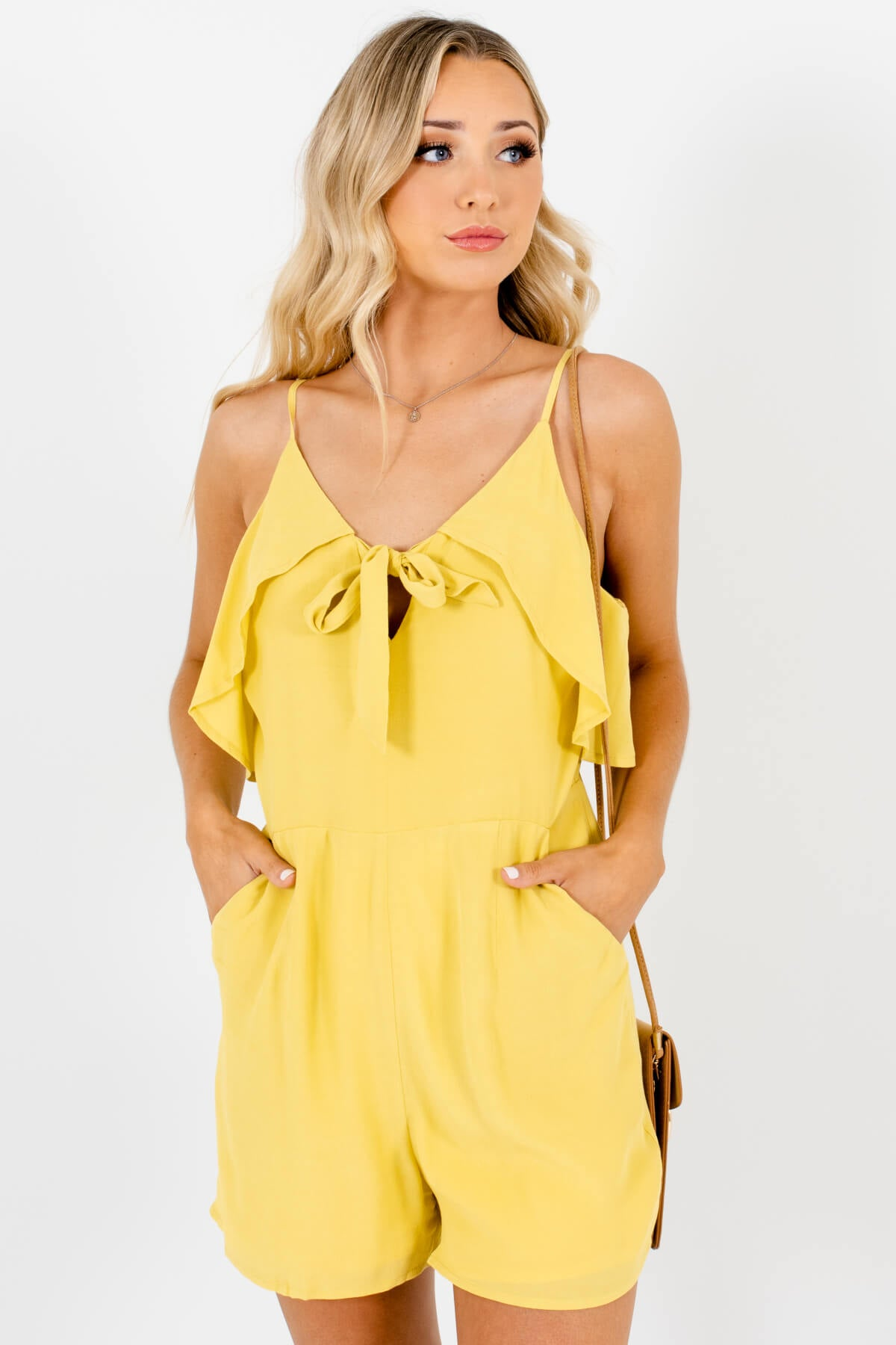 Chartreuse Yellow Green Tie-Front Ruffle Rompers with Pockets
