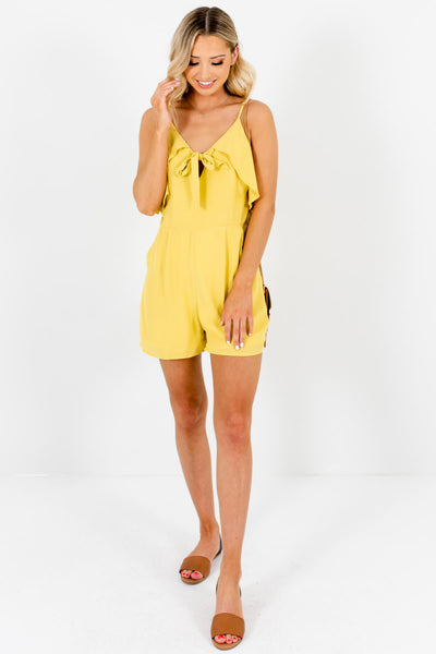 Chartreuse Yellow Boutique Ruffle Tie-Front Rompers with Pockets
