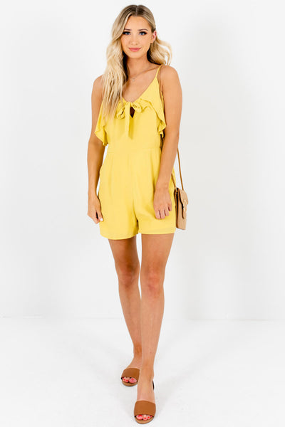 Chartreuse Yellow Tie-Front Ruffle Boutique Rompers for Women