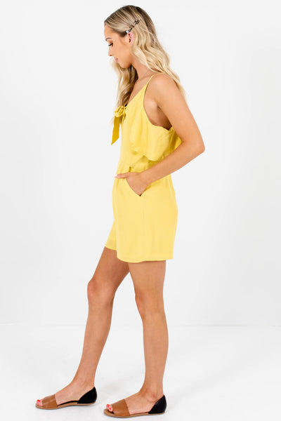 Chartreuse Yellow Ruffle Tie-Front Rompers for Women