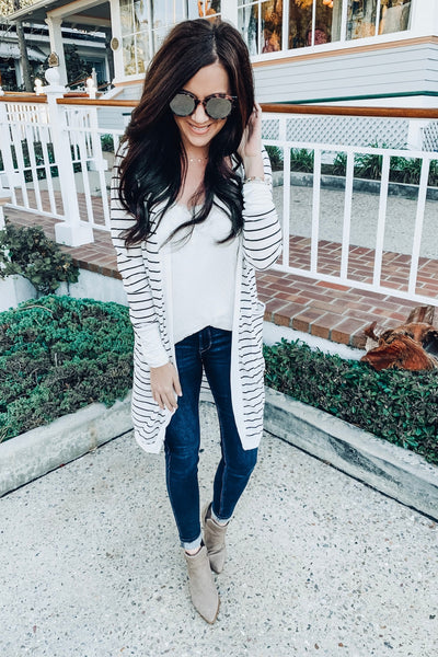 White Striped Long Duster Boutique Cardigans for Women
