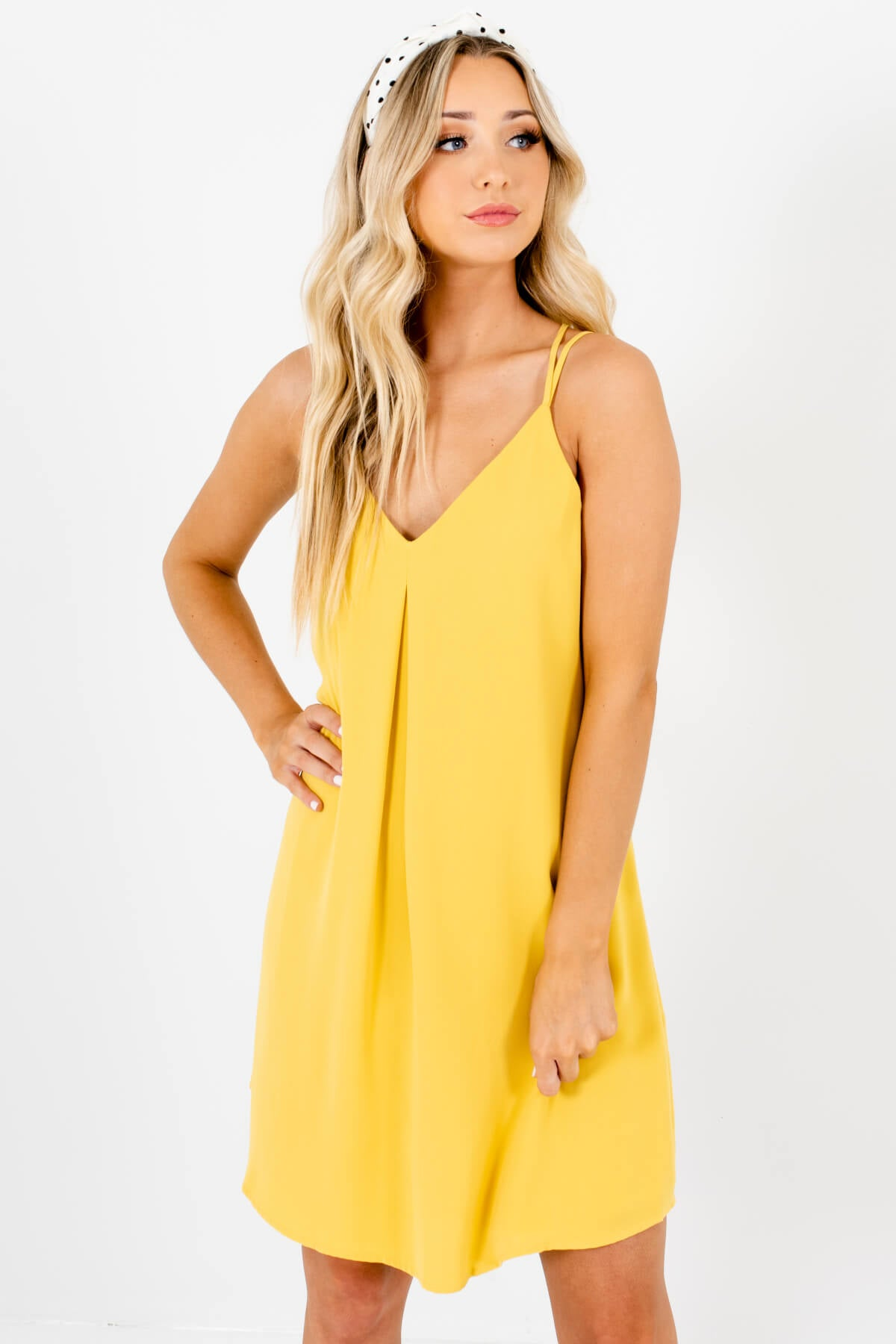 Yellow Pleated Accented Boutique Mini Dresses for Women