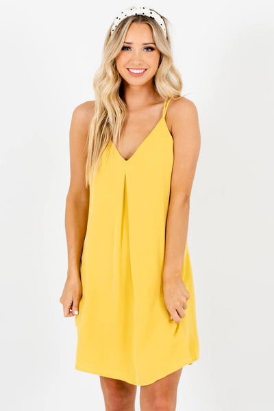 Women's Yellow Lightweight Material Boutique Mini Dress