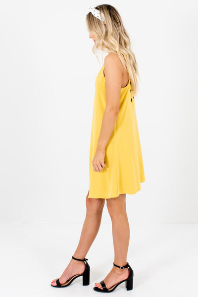 Yellow Fully Lined Boutique Mini Dresses for Women