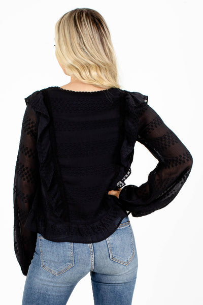 Black Ruffle Top for Fall