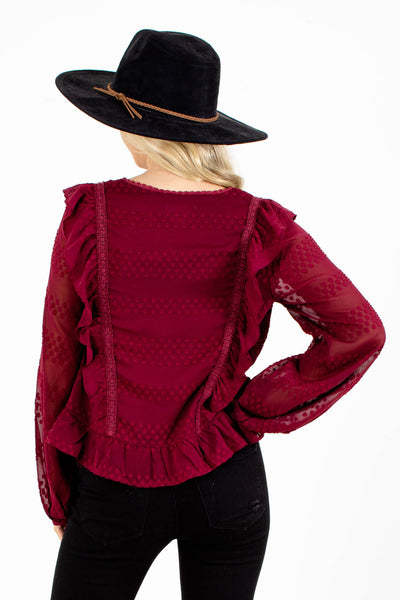 Women's Deep Red Long Sleeve Top