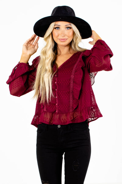 Red Flowy Blouse for Women