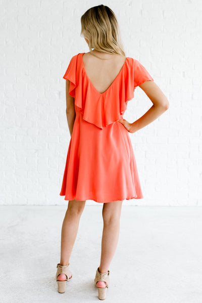 Women's Coral Pink Deep Front and Back V-Neckline Boutique Mini Dress