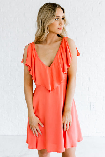 Women's Coral Pink Cute and Affordable Online Boutique Mini Dress