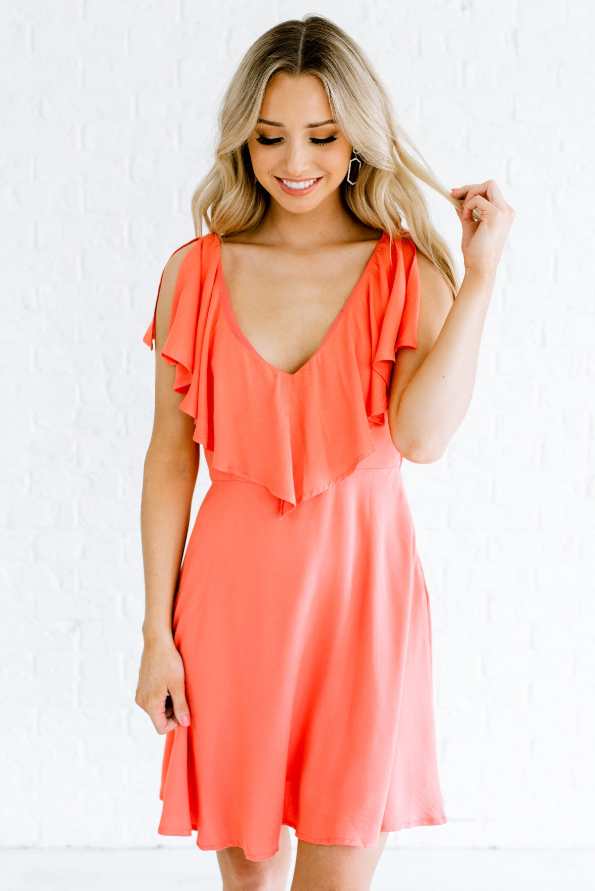 Coral Pink Fully Lined Boutique Mini Length Dresses for Women