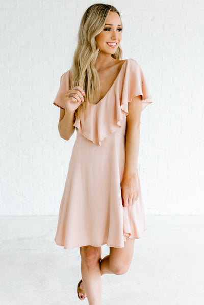 Peachy Beige High-Quality Boutique Mini Dresses for Women