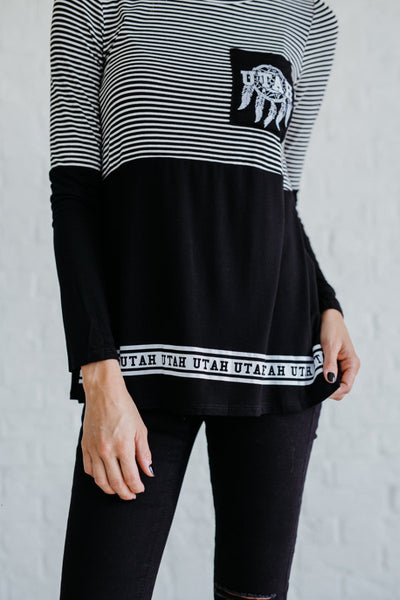 Black and White Striped Women's Long Sleeve Color Block Tops