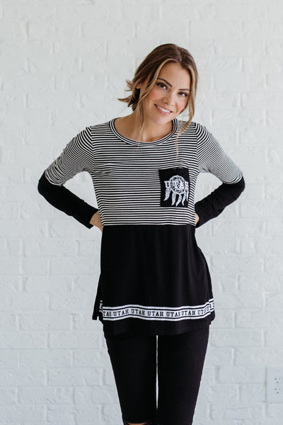 Black and White Striped Utah Color Block Tops for Women
