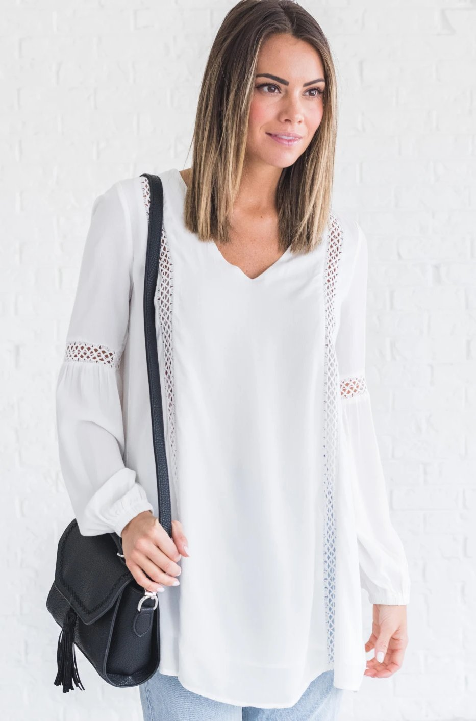 Boutique Top with Crochet Details
