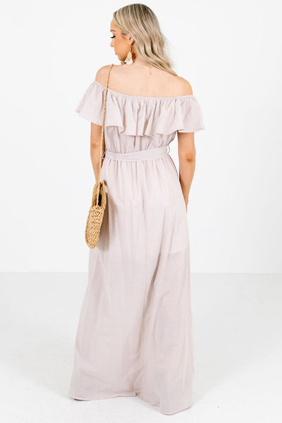 Women's Taupe Off Shoulder Style Boutique Maxi Dress
