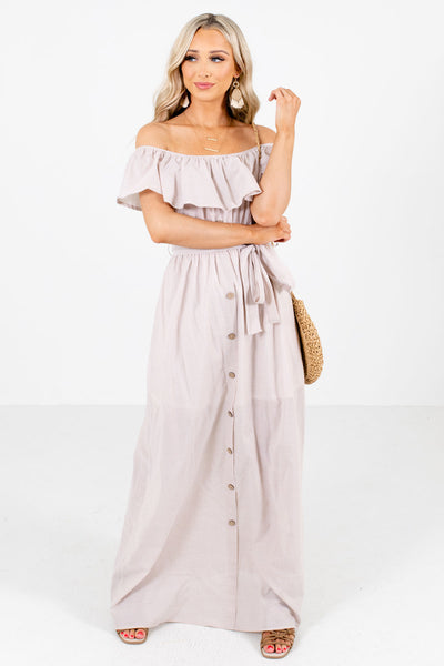 Taupe Brown Cute and Comfortable Boutique Maxi Dresses for Women