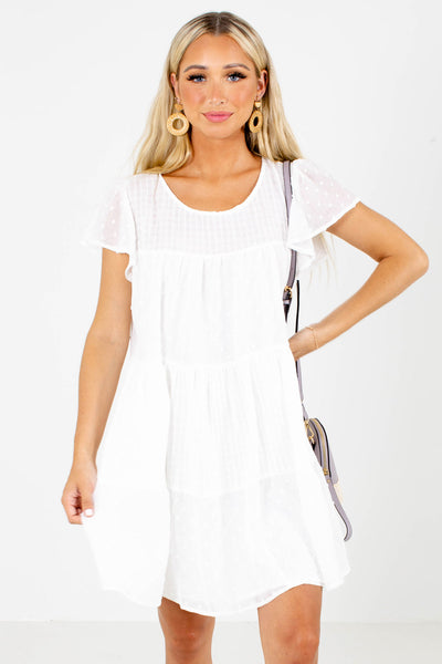 White Textured Material Boutique Mini Dresses for Women