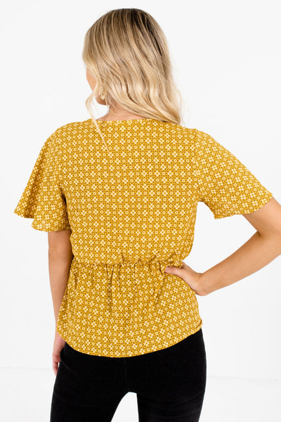 Women's Mustard Yellow Wrap Style Boutique Blouse