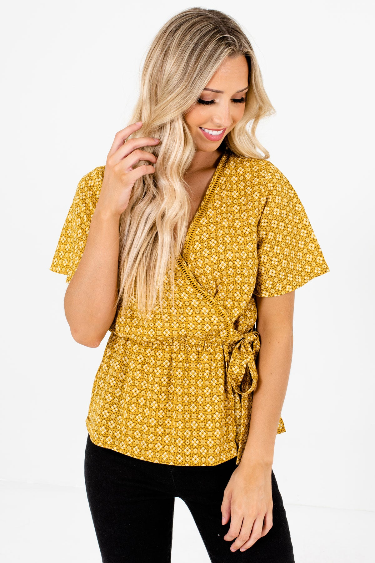 Mustard Yellow Multicolored Patterned Boutique Blouses for Women