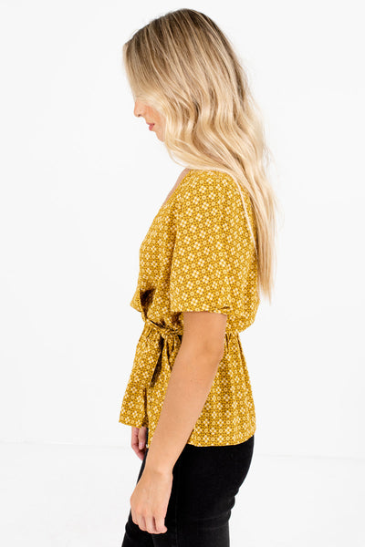 Mustard Yellow Ladder Lace Accented Boutique Blouses for Women