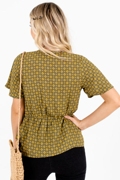 Women's Olive Green Wrap Style Boutique Blouse