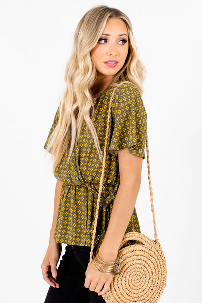 Olive Green Ladder Lace Accented Boutique Blouses for Women