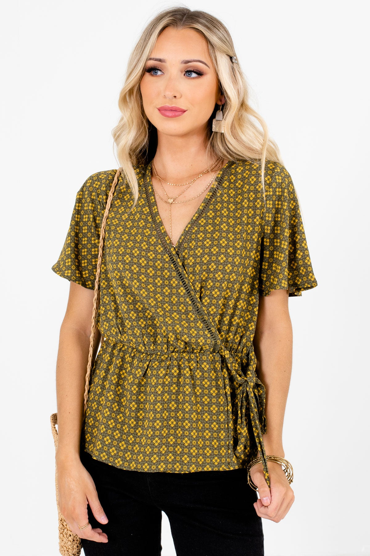 Olive Green Multicolored Patterned Boutique Blouses for Women