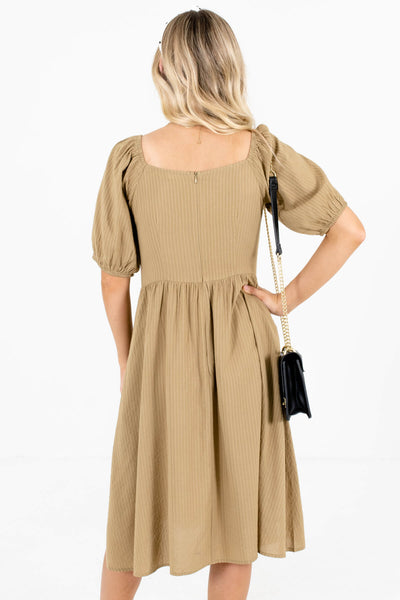 Women's Light Olive Green Decorative Button Boutique Dress