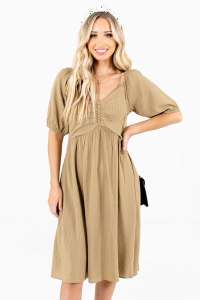 Light Olive Green Knee-Length Boutique Dresses for Women
