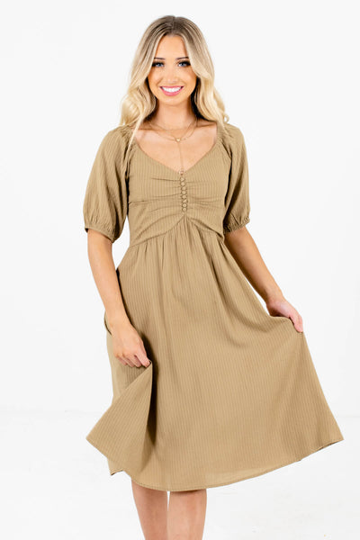 Women's Light Olive Green V-Neckline Boutique Dresses