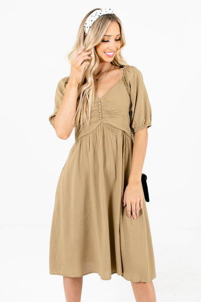 Women's Light Olive Green Lightweight Flowy Boutique Dress
