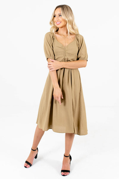 Light Olive Green Cute and Comfortable Boutique Dresses for Women