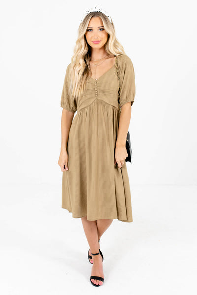 Light Olive Green Fall Trend Boutique Knee-Length Dresses for Women