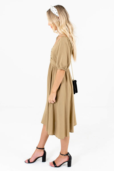 Light Olive Green Boutique Dress with Back Zippers for Women