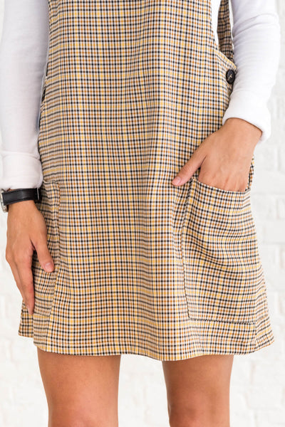 Mustard Yellow Plaid Winter Clothing for Women