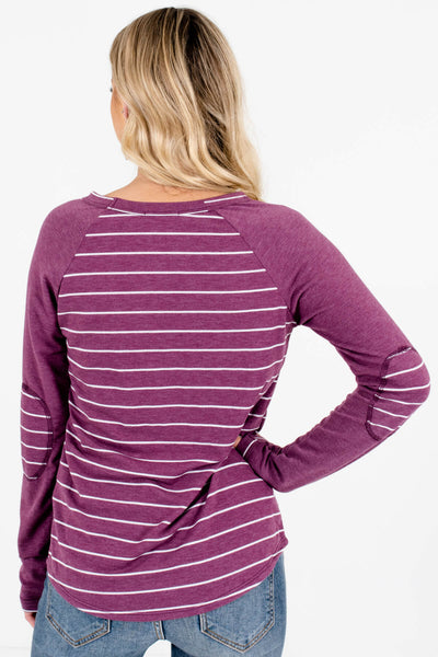 Women's Purple Boutique Tops with Elbow Patches