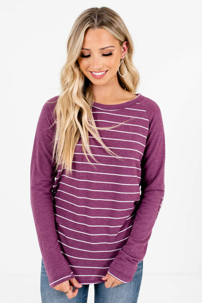 Purple and White Striped Boutique Tops for Women