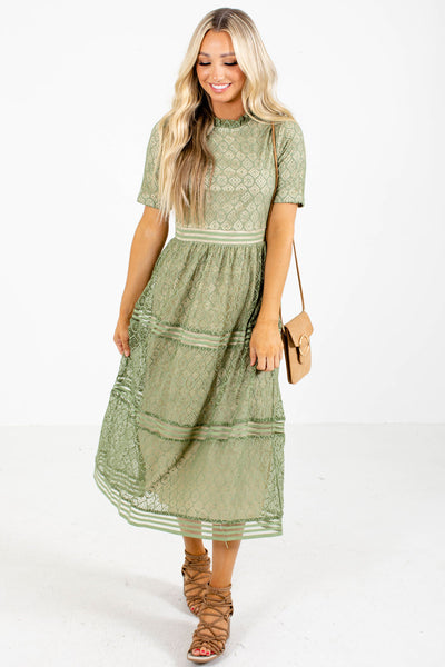 Women's Green Lace Material Boutique Dress