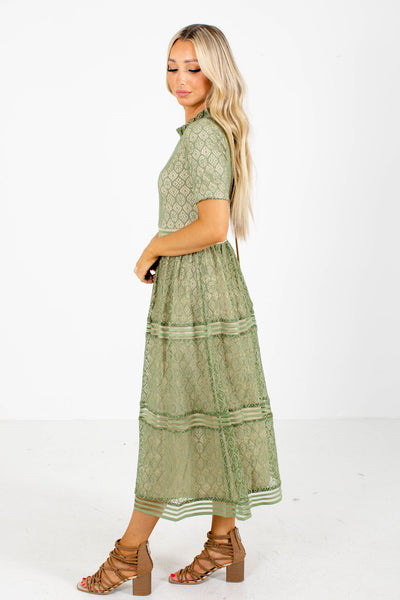 Women's Green Lace Dress Boutique Clothing