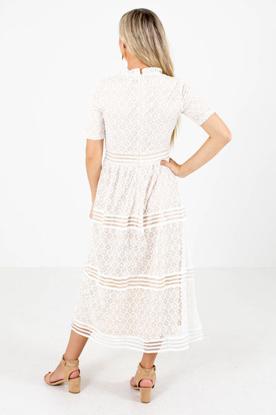 Women's White Back Zipper Boutique Midi Dress
